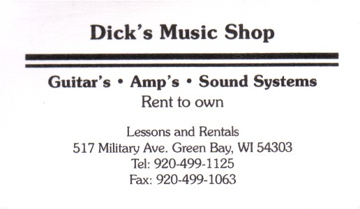 Folklib index wisconsin music business cards green bay amazing records card dicks music shop card reheart Gallery
