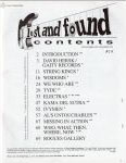 #jh -- Jim Oldsberg Lost and Found #1, 1992 (Table of Contents)